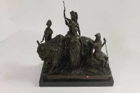 After Masier : A bronze study depicting Boadicia conquering bison with maidens in attendance, on black marble plinth.