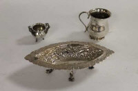 A small silver christening cup, together with a continental silver dish and miniature white metal pot. (3)