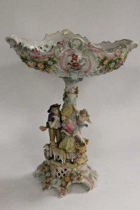 An early twentieth century Continental encrusted figured comport, height 44 cm.
