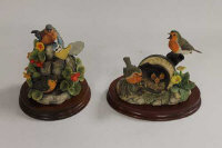 Two Border Fine Arts Society figures - The Joys of Spring and After the Rain, on mahogany plinths. (2)
