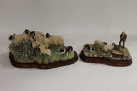 Two Border Fine Arts Society figures - James Herriot series, on shaped mahogany plinths. (2)