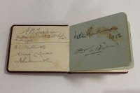 An early twentieth century autograph album containing numerous signatures of politicians, including Winston Churchill, Baden Powell, A.J. Balfour, Admirals Jellicoe and Fisher and others.