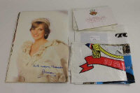 An official Buckingham Palace Royal Wedding booklet signed by Princess Diana on her portrait page, together with commemorative Royal Mails stamps and two carriers. (Q)