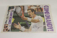 The Mail on Sunday Wimbledon final day pull-out, signed by Andy Murray.