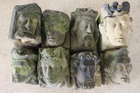 Eight antique limestone corbels, originally thought to have come from the Ravensworth estate. (8)