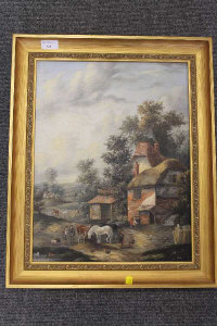 Twentieth century school : Figures with horse outside thatched dwellings, oil on canvas, signed with the initials 'E.M', 44 cm x 34 cm, framed.