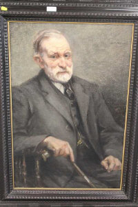 William Petrie : Portrait of a bearded Gentleman holding a walking stick, oil on canvas, signed, 76 cm x 49 cm, framed.