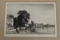 Stanley Anderson : The Mall at Hammersmith, drypoint etching, signed in pencil, with full margins, 22 cm x 34 cm, framed.