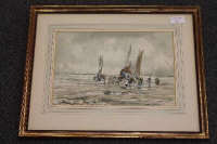 Victor Noble Rainbird : Bringing in the day's catch, watercolour, signed, 20 cm x 30 cm, framed.