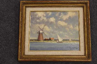 Hugh Boycott Brown : Sailing boats on a canal with windmill beyond, oil on panel, signed, 25 cm x 29 cm, framed.