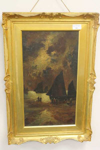 H. Palmer : Fishermen at night, oil on canvas, signed, dated 1912, 45 cm x 24 cm, framed.
