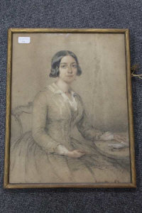 William Carpenter : Lady Falkland, wife of The Govenor of Bombay, charcoal with water colour and body colour, signed in pencil, dated 1850, 48 cm x 37 cm, framed.