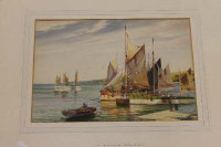 A.D.Bell : Brixham trawlers, watercolour, signed, dated 1954, 25 cm x 35 cm, framed.