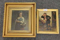 Late nineteenth century school : The naughty school boy, oil on metal panel, 20 cm x 17 cm, together with a portrait in oil depicting a young girl, both parts framed. (2)