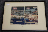 Eizan : Evening view of Ryogoku bridge, a pair of Japanese woodcuts, each 23 cm x 15 cm, framed overall as one.
