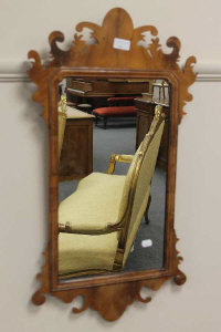 An early twentieth century Chippendale style mirror, 46 cm x 27 cm.