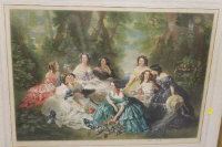 Arthur Cox (engraver) : The Empress Eugenie and her maids of honour, mezzotint in colours, signed in pencil, 50 cm x 68 cm, framed.