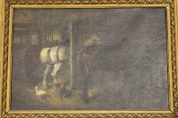 John Atkinson : Three horses with hens in a stable, oil on canvas, signed, 30 cm x 45 cm, framed.