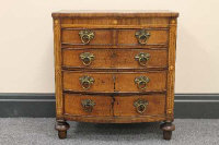 A nineteenth century inlaid mahogany miniature five drawer chest, width 45 cm.