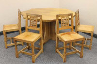 An oak octagonal pedestal dining table and four chairs by Robert 'Mouseman' Thompson of Kilburn, table width 135 cm. (5)