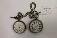 Two silver pocket watches, Birmingham 1895 & London 1882, together with a gilt metal chain and key.  (3)