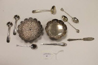A sterling silver dish, together with a filigree pin dish and eight items of silver cutlery. (10)