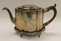 A Newcastle silver teapot on stand, John Langlands and John Robertson, 1782. 19 oz. (2)