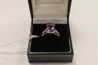 A 9ct gold amethyst and diamond ring, 4.1g.
