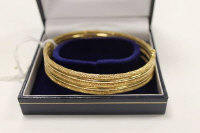 A 9ct gold textured five-band bracelet, 16.1g.