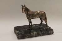 A silver plated figure of a horse, on marble plinth, height 14 cm.