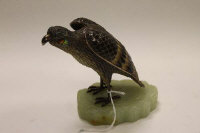 A limited edition silver filigree and enamel figure  - Great Wall Falcon, numbered 119/500, on onyx base, height 11 cm.
