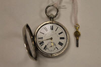 A silver pocket watch, Thomas Russell  & Son, Chester 1896, with no.8 key.