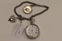 A silver pocket watch by J. B. Yabsley, on silver chain with silver fob and silver National Belgian Hare club medal.