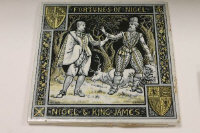 John Moyr Smith for Minton - a set of late nineteenth century five Waverley tiles, 20.5 cm x 20.5 cm. (5)