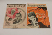 Two signed music sheets - Betty Grable, 'Put your arms around me honey' and 'Sweet Rosie O'Grady', also signed by Robert Young and George Montgomery. (2)