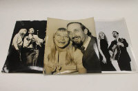 Peter, Paul and Mary - Three 1960's monochrome press photographs, each signed by Mary Travis. (3)