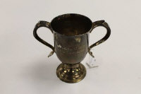 A silver twin-handled cup, London mark, date stamp 1796, height 15 cm, 309 g.