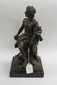 After Barbedienne - Bronze study of a Shepherd and dog, on black marble plinth, height 38 cm.
