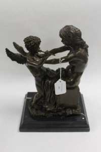 After Moreau - Bronze study of Cupid with arrow and maiden, on marble plinth, height 36 cm.
