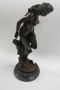 After Moreau - Bronze study of a nude by a tree stump, on marble socle, height 43 cm.