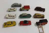 A collection of Meccano Dinky diecast vehicles to include No.30D Vauxhall; No39a Packard Super 8; No25b Covered Wagon; No.150 Rolls Royce Silver Wraith: 34b Royal Mail Van; No.139A Ford Fordor; No.187 Volkswagen Karmann Ghia etc (10).
