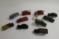 A collection of Meccano Dinky diecast vehicles to include No25a Wagon; No25K Streamlined Fire Engine; No.25f Market Gardeners Lorry; No.39p Studebaker Petrol Tanker; 152B Reconnaissance Car; No 25h Streamlined Fire Engine; No.25d Petrol Tank Wagon etc. (10).
