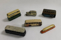 "A collection of Meccano Dinky diecast vehicles to include:No.28e Delivery Van ""Firestone Tyres""; No.26 GWR Railcar; No.29G Luxury Coach; No.283 BOAC Coach; 2 x No.29c Bus.(6)."