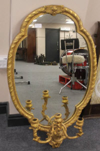 An antique gilt framed girandole mirror, height 98 cm.