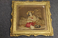 A pair of needlework pictures depicting children with animals, 40 cm x 37 cm, both parts framed. (2)