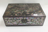 A Victorian lacquered inlaid mother of pearl work box, width 42 cm.