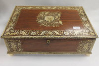 A nineteenth century rosewood inlaid ivory table box, width 49 cm.