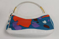 A Gianni Versace white leather and multi coloured hand bag, with retail pouch.