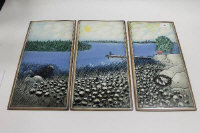 Helja Liukko Sundstrom for Arabia pottery Finland - A set of three glazed ceramic tiles depicting a rocky shoreline, each 35.5 cm x 18 cm. (3)
