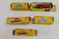 Five Dinky model vehicles - Sunbeam Rapier, Hillman Minx, Saab 96, Singer Gazelle and a Humber Hawk, all boxed. (5)